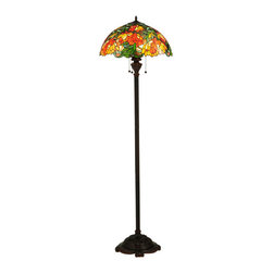 """Meyda - 66""""H Lamella Floor Lamp - In all its natural beauty, a bouquet of blossomingflowers in peach, tangerine and yellow hues bloom whilesurrounded by radiant willow green leaves andglistening multicolored rippled glass. This lamp is sobeautiful that you will think you are sitting in anenglish garden. This stunning tiffany styled stainedglass shade, with a coordinating floor base in a warmmahogany bronze finish, will add a brilliant, luxuriouselegance to your home. Bulb type: med bulb quantity: 3 bulb wattage: 60"""