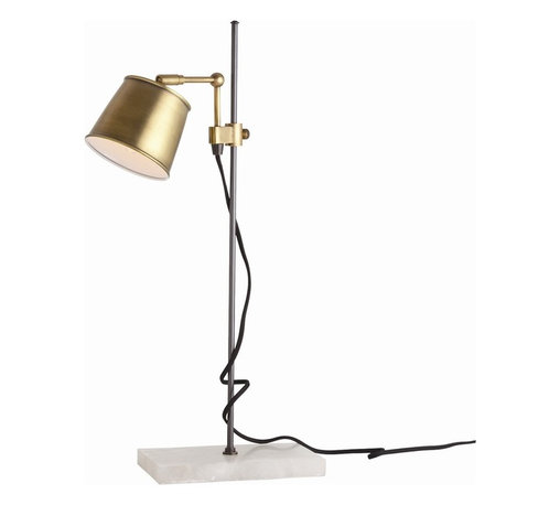 Arteriors - Watson Desk Lamp - This vintage brass desk lamp adds so much charm to your workspace that it will make working seem more attractive. The adjustable shade perches on a thin metal pole that's weighted by a white marble base in a perfect balance of light, modern functionality and solid, traditional elegance. An exposed black cloth cord adds the final touch of character. Try it on a chunky antique wood desk.