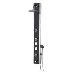 Aqua - Stainless Steel Shower Black Panel Glass Top 3 Jets Hand Shower Rain shower 8604 - Stainless Steel, Tempered Black Glass Top