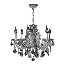 "Worldwide Lighting - Catherine 6 Light Chrome Finish & Clear Crystal Chandelier 20"" D x 20"" H Medium - This stunning 6-light crystal chandelier only uses the best quality material and workmanship ensuring a beautiful heirloom quality piece. Featuring a radiant chrome finish and finely cut premium grade clear crystals with a lead content of 30%, this elegant chandelier will give any room sparkle and glamour. Worldwide Lighting Corporation is a privately owned manufacturer of high quality crystal chandeliers, pendants, surface mounts, sconces and custom decorative lighting products for the residential, hospitality and commercial building markets. Our high quality crystals meet all standards of perfection, possessing lead oxide of 30% that is above industry standards and can be seen in prestigious homes, hotels, restaurants, casinos, and churches across the country. Our mission is to enhance your lighting needs with exceptional quality fixtures at a reasonable price."
