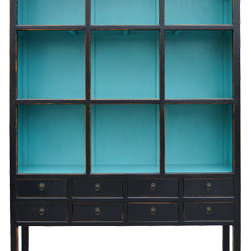 """Zoe Cabinet in Aquamarine - The Zoe cabinet with it's striking aquamarine backdrop provides an amazing amount of storage. Assign a """"cubbie"""" for each person working in the home office. This is a great way to organize an overload of papers and homework."""