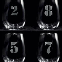 Crystal Imagery, Inc. - Numbered 1-8 Stemless Wine Glass Set - Take the mystery out of the whose-glass-is-whose dilemma and put the fun back in. These boldly numbered wineglasses will help your party guests keep track of their drinks throughout the night. The numbers are etched with a deep sand carving technique, so they're there to stay. A perfect gift for the consummate host.
