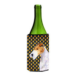 Caroline's Treasures - Fox Terrier Candy Corn Halloween Portrait Wine Bottle Koozie Hugger - Fox Terrier Candy Corn Halloween Portrait Wine Bottle Koozie Hugger Fits 750 ml. wine or other beverage bottles. Fits 24 oz. cans or pint bottles. Great collapsible koozie for large cans of beer, Energy Drinks or large Iced Tea beverages. Great to keep track of your beverage and add a bit of flair to a gathering. Wash the hugger in your washing machine. Design will not come off.