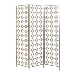 UMA Enterprises - Metal and Mirrored 3-Panel Room Divider - Silver - 50211 - Shop for Room Dividers from Hayneedle.com! Contemporary with a retro edge the Metal and Mirrored 3-Panel Room Divider - Silver shows off your design chops. The simple wooden frame is finished in silver while a pattern of diamond cut-outs adds dimension without blocking visibility. Mirroring detail adds light and space perfect for the modern home.