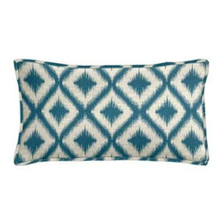 "Cushion Source - Ikat Fret Tourmaline Lumbar Pillow - The 20"" x 12"" Ikat Fret Tourmaline Lumbar Pillow features an ikat diamond pattern in teal on a natural background."
