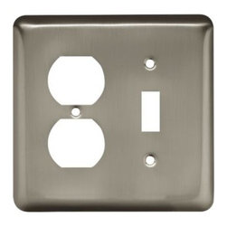 Liberty Hardware - Liberty Hardware 64358 Stamped Round WP Collection 4.96 Inch Switch Plate - A simple change can make a huge impact on the look and feel of any room. Change out your old wall plates and give any room a brand new feel. Experience the look of a quality Liberty Hardware wall plate. Width - 4.96 Inch, Height - 4.9 Inch, Projection - 0.2 Inch, Finish - Satin Nickel, Weight - 0.22 Lbs.