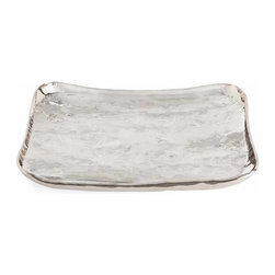 "Arteriors - Arteriors Home - Sofia Large Rectangular Nickel Tray - 6990 - Hammered rectangular piece of metal has hand rolled sides and is finished in polished nickel. There is a smaller size as well #6991 and they nest. Features: Sofia. Collection: Tray Polished nickel FinishRectangular in SizeIrregular Rolled Edge Some Assembly Required. Dimensions: W 24"" x D 18"" x H 3 1/2"""