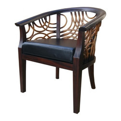 NPD (New Pacific Direct) Furniture - Siena Armchair by NPD Furniture, Brown - Amazing solid mango wood frame Siena armchair with leatherette seat and rattan back.