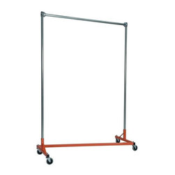 Z Racks - 5 ft. Z-Rack Garment Rack w Single Rail and 6 - Base Color: Orange. 500lb capacity. 14 gauge, 60 in. Long steel base (Environmentally safe powder coated finish ). 16 gauge, 72 in. upright bars and hang rail. 1 5/16 outside diameter upright bars and hang rail. Grey non-marking soft rubber with TP center 4 in. casters . Made in the USA. 63 in. L x 23 in. W x 79 in. HThe apparel industry relies on space-saving clothes racks for many reasons but because the shape of the Z-Rack folds right into another unit, it is able to be moved out of the way. More floor space is a great reason to choose it, but so is this rack�۪s long-lasting durability. Able to hold 500 lbs, with a five foot base and uprights that extend up to six feet, it�۪s a mobile multi-purpose rack that can provide needed storage and organization anywhere you need more hanging space.