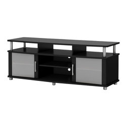 South Shore - South Shore Contemporary TV Stand in Pure Black - South Shore - TV Stands - 4270677 - This TV stand combines curved lines metal accents frosted glass and a Pure Black finish for popular contemporary style. It is a perfect blend of form and function featuring both open and closed storage options and a large surface perfect for ACL TVs of 60'' or less.. The living room has never been so tidy and organized!