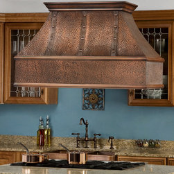 "48"" Tuscan Series Copper Island Range Hood with Riveted Bands - Straps with rivets make this 48"" Tuscan Series Copper Island Range Hood a striking addition to your gourmet kitchen. Powerful yet elegant, the Tuscany Series Copper Wall-Mount Range Hood includes removable filters."