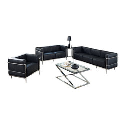 LexMod - Leather Le Corbusier-Style LC3 Armchair, Loveseat and Sofa in Black, Eileen Gray - The Le Corbusier LC3 represents uncompromised quality with affordability you won't find anywhere else. Each piece is made to preserve the specifications of the original using modern day manufacturing techniques, so every surface is sleek and smooth. This exceptional piece of furniture provides you comfort and long lasting quality, the kind you deserve. The Eileen Grey Table that is an elegant combination of style and grace. A modern classic worthy of its fame, this piece will fit seamlessly into your space, adding that final touch to any home decorating ensemble.