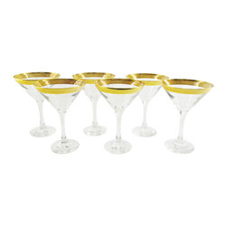 None - 6-piece Martini Glass Set with Gold Rims - Enjoy a cocktail in your new favorite gold trimmed Italian martini glass that is sure to turn more than a few heads at your next dinner party. Treat your guests to this elegant glass the next time your throw together a drink.