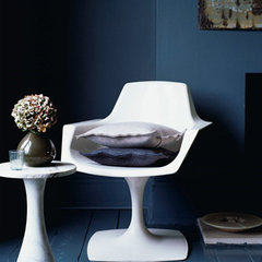 eclectic  dark blue and white