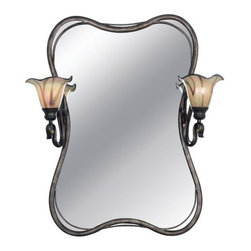 """Kenroy Home - Kenroy Home 90890 Stained Glass / Tiffany Rectangular Mirror Inverness - *Inversness Lighted MirrorFeatures Chrome Swirl Art GlassIncludes 6 foot cord and plug with cord coverMay be plugged in or hardwiredExtends: 10""""2 100w Medium Base (Not Included)Height 33""""Width 29""""7"""" diameter glass shades"""