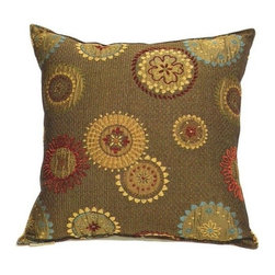 "Canaan - Gears Sunburst Pattern Print 20"" x 20"" Throw Pillow - Gears sunburst pattern print 20"" x 20"" throw pillow. Measures 20"" x 20"" made with a blown in foam. These are custom made in the U.S.A and take 4-6 weeks lead time for production."