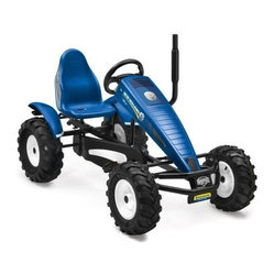 Berg USA New Holland AF Riding Toy - Just make sure they take off their boots when they come in from riding the Berg USA New Holland AF Riding Toy. The authentic styling and bright blue color are classic New Holland trademarks, but they'll also love the air-filled off-road tires and the durable pedals that can propel them either forward or in reverse. A hand-operated brake gives them easy and strong stopping power, and the adjustable seat is made from rugged, molded plastic. Dashboard decals and a nonworking smokestack give this 113-lb. riding toy the feel of a real farm machine. Try adding the Berg USA Trailer Junior Riding Toy for added imaginative play. This toy is recommended for children ages 5 and up. Adults under 6-ft. and 285 lbs. can also ride comfortably.Additional FeaturesAF (automatic freewheel) hub for easy pedal controlSealed-bearing wheels for effortless rolling on all terrain4 wheel mud guards and chain cover for safetyDashboard decals include speedometerRealistic-looking hood exhaust pipeAttractive and adjustable color-coordinated sport seatSport-grip steering wheel with pretend airbagAbout Berg USAFounded in 2010, Berg USA is quickly becoming a recognized name in children's riding toys with their innovative designs and attention to safety that don't get in the way of their dedication to providing outdoor exercise for both kids and adults. Berg USA designs and offers a wide variety of high-quality pedal go-karts for home or commercial use ranging in size to comfortably accommodate ages 2 through adult, as well as their versatile line of MOOV construction kits.Please note this product does not ship to Pennsylvania.