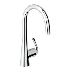 """Grohe - Grohe 32 226 00E Ladylux Pro WaterCare Main Sink Dual Spray Pull-Down Kitchen Fa - Grohe 32 226 00E Ladylux Pro WaterCare Main Sink Dual Spray Pull-Down Kitchen Faucet, Starlight Chrome Add the finishing touch to your bathing space with one of Grohe spectacular faucet designs. Modern or traditional, a GROHE faucet will be the talking point of your bathroom. Grohe 32 226 00E Ladylux Pro WaterCare Main Sink Dual Spray Pull-Down Kitchen Faucet, Starlight Chrome Features: GROHE RealSteel Stainless Steel Construction- produced from solid, Grade 304 stainless steel (SD0 only) 000, DC0=Solid Brass Body GROHE SilkMove Ceramic Cartridge SpeedClean Anti-Lime System Locking Push Button Control -- to switch from regular flow to spray Stainless Steel Braided Flexible Supplies Quick Installation System Single Lever Handle Forward Rotation Lever, does not hit backsplash 8 9/16"""" Spout Reach Also Known As Grohe: 3222600E"""