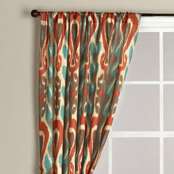 Diva Ikat Curtain - I love this colorful ikat fabric choice from World Market! The rusty red and turquoise are great colors.
