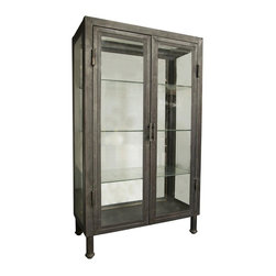NOIR - NOIR Furniture - metal bar cabinet - BCS134MT - The clean-lined Noir bar cabinet gives rise to striking storage. Classic with glass paneling, the dashing display piece delivers the modern interior sophisticated style.