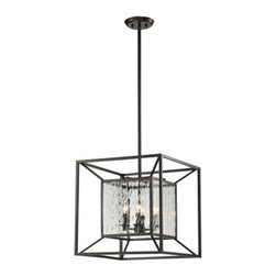 Elk Lighting - ELK Lighting 4-Light Cubix Chandelier - This item by ELK Lighting comes in an oiled bronze finish. Features clear glass. Works with four 60-watt clear incandescent candelabra bulbs. Bulbs not included.