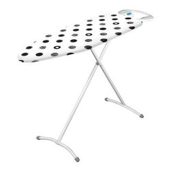 Minky Homecare Compact Ironing Board - Being limited on home interior space doesn't mean having to limit your personal exterior style, with the Minky Homecare Compact Ironing Board. This ironing board gives you the ability to be the well-dressed person you envision, without requiring an entire room devoted to it. Compact and fully collapsible, this board nevertheless comes with impressive features that help turn a tiresome chore into a quick, enjoyable part of getting ready. The steel mesh steamflow technology is designed to maximize efficiency, reducing the time needed to complete the task. And backaches from awkward positioning are a thing of the past with this board's infinite height adjustment capability, offering you an ergonomic experience that will help you move faster and feel better. The attached iron rest also allows you to set your iron down between garments without having to worry about it getting in the way or dangerous steam escaping. Perhaps you could devote that extra room to your wardrobe instead.About Minky HomecareWith a history that stretches clear back to the mid-nineteenth century, Minky Homecare has the experience and integrity to ensure that your housework is quick and easy. Part of Vale Mill, Minky Homecare is a family owned and run business, which means personal care and commitment to developing the very best cleaning products on the market. From prepacked cleaning cloths to ironing boards, from air driers to household cleaners and organizers, Minky has been on the cutting edge of homecare for over half a century. As a result, they have grown into international markets and have even been granted a warrant by the British Royal Household. With Minky Homecare, housework is a pleasure and does itself when you don't want to.