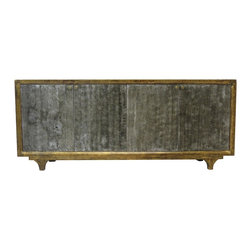 Geldof Dark Gray and Gold 4 Door Tall Sideboard - Our collection of sideboards are built of beautiful elm wood reclaimed from buildings and furniture pieces that graced the eclectic Qing dynasty. Each piece is meticulously hand built and finished by time-honored craftsman utilizing over 120 different processes. A gorgeous addition to your dining room, stunning under your flat panel television, or the focal point of the master suite.