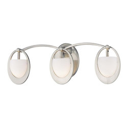 Minka George Kovacs - Minka George Kovacs Earring Three Light Brushed Nickel Etched Opal Glass Vanity - This Three Light Vanity is part of the Earring Collection and has a Brushed Nickel Finish and Etched Opal Glass.