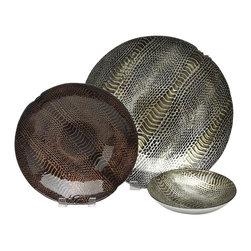 """belle & June - Snakeskin 12"""" Bowl Silver/Brown Gold-Set of 2 - Dimensions:  12"""""""