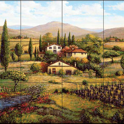 The Tile Mural Store (USA) - Tile Mural - Sb - Vinodivino - Kitchen Backsplash Ideas - This beautiful artwork by Sambataro has been digitally reproduced for tiles and depicts a beautiful tuscan lanscape of a vineyard and hillside homes.  Our kitchen tile murals are perfect to use as part of your kitchen backsplash tile project. Add interest to your kitchen backsplash wall with a decorative tile mural. If you are remodeling your kitchen or building a new home, install a tile mural above your stove top or install a tile mural above your sink. Adding a decorative tile mural to your backsplash is a wonderful idea and will liven up the space behind your cooktop or sink.