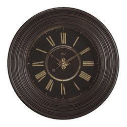 HERMLE - Hermle Darby 36 inch Gallery Wall Clock - Distressed Walnut Finish