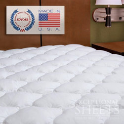 ExceptionalSheets - Extra Plush and Extra Thick Mattress Pad - The Extra Plush and Extra Thick Mattress Pad is the Double Thick version of the same mattress pad that we offer that is used in over 125,000 Marriott beds across the U.S. and Canada. This mattress is perfect to revitalize your sleep and will fit any size mattress on the market with twice the thickness of a normal mattress pad. The fiber is gathered into small bundles which create a soft and comforting feel without lumping together. This exclusive and extraordinary fiber technology gives you the look and feel of down only better, and makes the cover 100% hypoallergenic and 100% washable. The expandable skirt allows the cover to fit any thicker pillow top mattress with ease. This cover uses unique polyester fiber clusters to provide an extraordinary level of comfort that will change your sleep for the better. Dimensions: Twin: 99 x 190.5 cm, Twin XL: 99 x 203.2 cm, Full: 137.2 x 190.5 cm, Queen: 152.4 x 203.2 cm, King: 193 x 203.2 cm, Cal King: 182.9 x 213.4 cm. Care Instructions: Machine wash warm. Tumble dry low. Do not use softeners in washer or dryer. This pad soaks up lots of water, so keep it out of low-volume washers and dryers.
