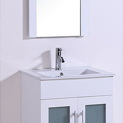 None - Ceramic Top 24-inch Single Sink Bathroom Vanity with Mirror - Update your bathroom decor with this Single Sink Bathroom Vanity and Mirror. This vanity features a white ceramic sink and two doors for storage of your bathroom accessories.