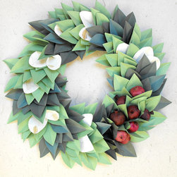 Holiday Christmas Paper Wreath by Moonflower Nature Art - Paper never looked so pretty! This beauty is a modern take on the traditional wreath, as it's made with paper leaves and dried pomegranates.