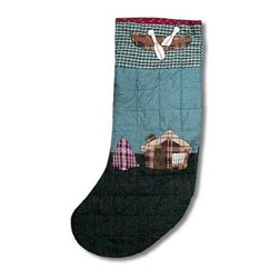 Patch Magic - Cabin Bear Stocking - 8 in. W x 21 in. L. 100% Cotton. Machine washable.. Line or flat dry onlyGorgeous and unique hand quilted Christmas stocking.