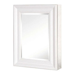 Pegasus - 20in. x 26in. Recessed or Surface Mount Mirrored Medicine Cabinet, White - 20 in. x 26 in. Recessed or Surface Mount Mirrored Medicine Cabinet with Framed Door in White
