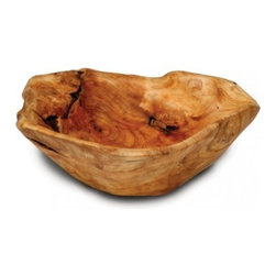 Enrico - Enrico Root Wood Large Flat Cut Bowl - *Made from environmentally-friendly reclaimed fir stumps with an easy care food-safe lacquer finish *Each piece is hand-carved by skilled artisans, so no two are exactly alike. Knotholes and minor cracks add a unique charm. *Gorgeous wood grain and colors make these great for a wide variety of serving and decorative uses *Hand wash for best results - lacquer finish cleans up easily