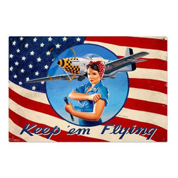 Past Time Signs - Keep Em Flying Tin Sign 36 x 24 Inches - - Width: 36 Inches