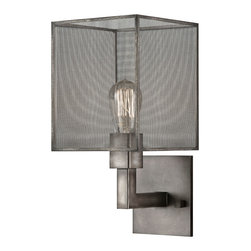 Fine Art Lamps - Relativity Sconce, 801150ST - How can a light fixture seem modern, but traditional at the same time? It happens with this handsome mesh sconce. The antiqued-steel armature supports an old-fashioned filament bulb (included), whose warm glow is diffused by a demure mesh shade. It's a marvelous merger of high design and old-school technology.