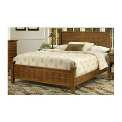 HomeStyles - Queen Poster Bed (Cottage Oak) - Finish: Cottage OakLattice moldings. Slightly flared legs. Made from Asian hardwood and veneer. Cottage oak finish. Made in Thailand. 64.25 in. L x 90 in. D x 48.5 in. H. Assembly InstructionsMission styling at it's best! The arts and crafts queen poster bed embellishes typical mission styling with raised wood. This bed's simplistic yet detailed design makes it an ideal piece for any bedroom.