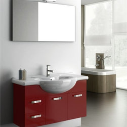 ACF - 39 Inch Bathroom Vanity Set - Set Includes: . Vanity Cabinet (2 doors, 2 drawers). Fitted ceramic sink (41.7 inch x 19.3 inch ). Mirror (W 41.3 inch x H 21.8 inch ). Vanity light. Vanity Set Features:. Vanity cabinet made of engineered wood. Cabinet features waterproof panels. Available in Glossy Red, Glossy Anthracite, Glossy White. Cabinet features 2 doors and 2 soft-closing drawers. Faucet not included. Perfect for modern bathrooms. Made and designed in Italy. Includes manufacturer 5 year warranty.
