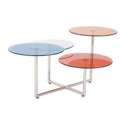 Talk in Circles Table - Coffee table options have you down? This version will pick you right up. With hues from the '90s and a retro design aesthetic, you can have your coffee on any playing field you prefer.