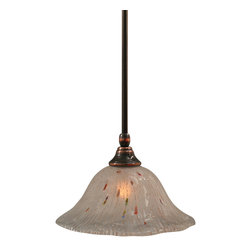 """Toltec - Toltec 23-BC-731 Black Copper Finish Stem Mini Pendant - Toltec 23-BC-731 Black Copper Finish Stem Mini Pendant with 10"""" Frosted Crystal Glass"""