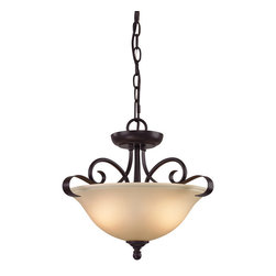 Cornerstone - Cornerstone Brighton 1002CS/10 2 Light Convertible in Oil Rubbed Bronze - 1002CS/10 2 Light Convertible in Oil Rubbed Bronze belongs to Brighton Collection by Cornerstone As a part of the Brighton Collection this Oil Rubbed Bronze Finish and Light Amber Glass Convertible Semi-Flush Mount provides elegance and style to any home. Chandelier (1)