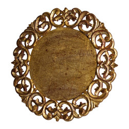 Abigails - Vendome Round Placemat, Gold, Set of 4 - A lovely round placemat made of wood and composition material ringed with a cut out design. The mat has an antique gold leaf rubbed finish.