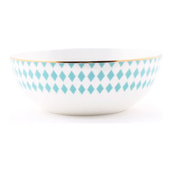 Hutton Bowl - Named for iconic cover girl Lauren Hutton, the Hutton Collection aims to convey the same classic, enduring archetype of American beauty. The diamond-patterned bowl brings that bright spirit to the main course.