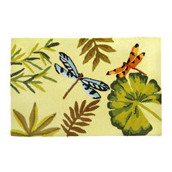 Homefires - Bamboo Dragonfly Rug - Elegant dragon flies flit around your home on this machine washable area rug. The calming colors of nature make the soft sounds of the forest almost audible in your living spaces.