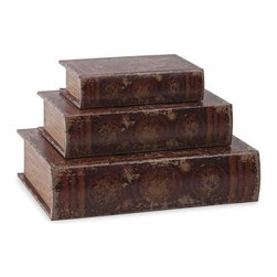 """IMAX - World Map Book Boxes - Set of 3 - This set of three book boxes discreetly stores small items in sophisticated aged world map designs. Item Dimensions: (13""""h x 10""""w x 3.25"""")"""
