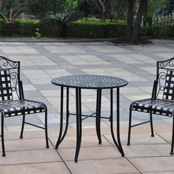 International Caravan - Mandalay Wrought Iron Patio Bistro Set in Ant - Includes 2 low profile chairs, round table and assembly instructions. Weatherproof. Easy to assemble. Made from premium wrought iron. Minimal assembly required. Chairs: 20 in. W x 17.5 in. D x 36 in. H . Table: 30 in. Dia. x 28.5 in. H. Weight: 169 lbs.