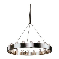 Robert Abbey Lighting - Robert Abbey Rico Espinet Candelaria Chandelier in Brushed Nickel-Large - Direct Wire Only.  Brushed Nickel Finish over Metal.